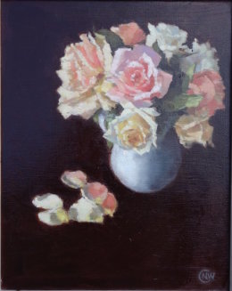 """Old roses  oil 10""""x 8"""""""