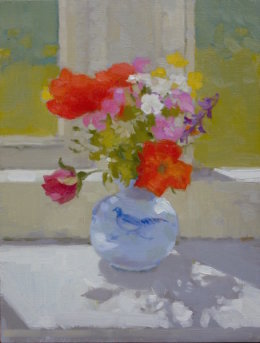"'Poppies and pink rose' 8""x 6"" oil on board"