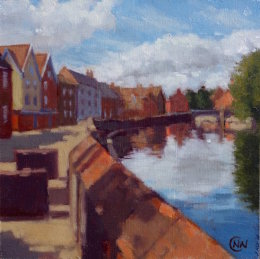 "'River Wensum' oil on board 6""x 6"""