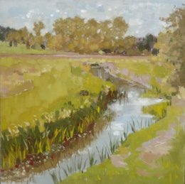 "Wensum valley, Ringland 12"" x12"" oil on board (SOLD)"
