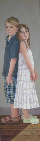 """Back to back 18""""x 60"""" oil on canvas"""