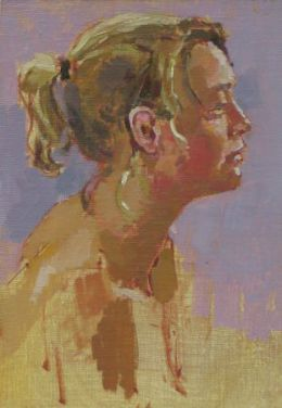 """Becky with pigtail 5""""x 8"""" oil on board"""