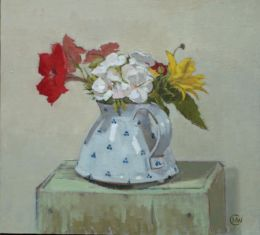 "Summer bouquet in Burnham vase 11""x 10"" oil on gesso (SOLD)"