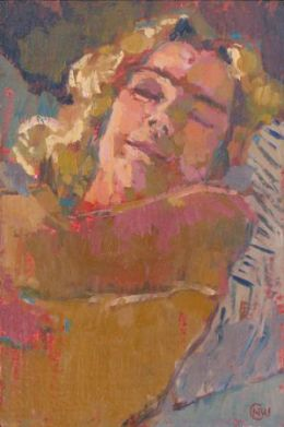 """Charlie 6""""x 4"""" oil on gesso"""