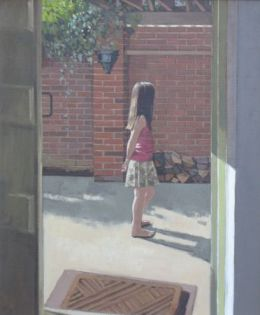 """Girl in courtyard 20"""" x 24"""" oil on canvas"""
