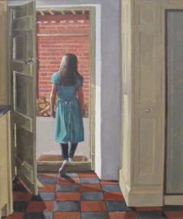 """Girl in green dress 20""""X 24"""" oil on canvas"""