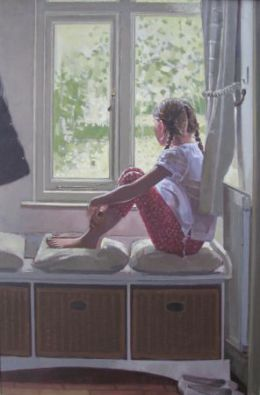 "Girl at the window 24"" x 36"" oil on canvas"