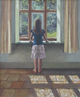 """Girl standing at window 20""""x24"""" oil on canvas"""