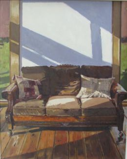 "Old sofa, morning 16""x 20"" oil on board"