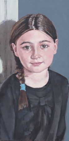 "Maddie in plaits 6""x 12""oil on board (NFS)"