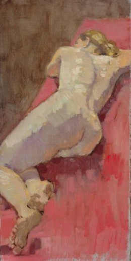 """Nude on red cloth 6""""x 12"""" oil on board"""