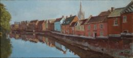 """Quayside, Norwich 4""""x 10"""" oil on board (SOLD)"""