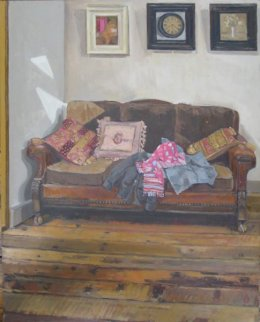 "Old sofa, afternoon 16""x 20"" oil on board"