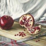 Pomegranates on An Acacia Board - Original Oil on Canvas