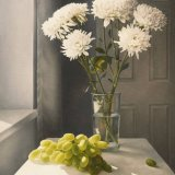 Chrysanthemums and Grapes - Original Oil on Canvas - SOLD