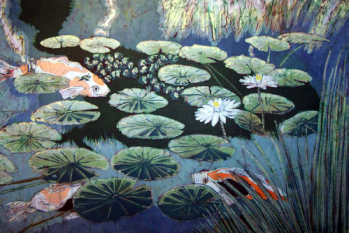 Lily Pond with Koi
