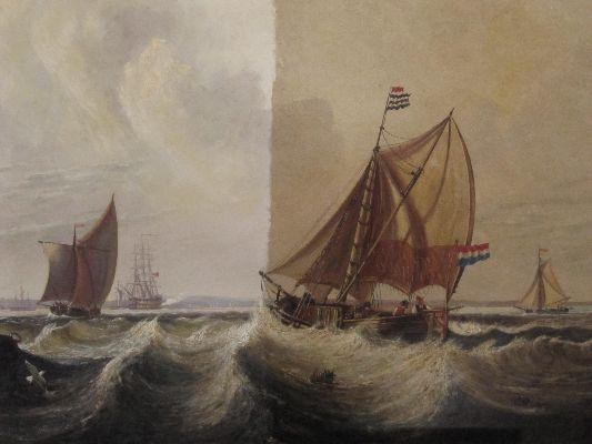 Oil on panel sailing vessels off Dutch coast