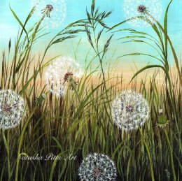 "Original Acrylic Painting ""Dandelion Clocks"" £59 Framed Exhibited at Stotfold Mill 29th June-1st July"