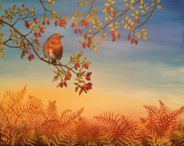 "Autumn Robin 16""x20"" Acrylic on Canvas SOLD Prints available"