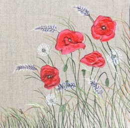 Poppy Meadow II Acrylic on Canvas Board SOLD