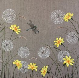 Dragonfly Meadow II Acrylic/relief paste painting ORIGINAL SOLD Prints available