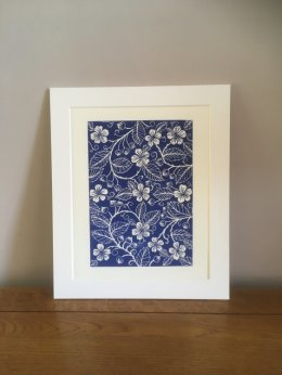 Bramble Blossom Lino Print available in my Etsy store