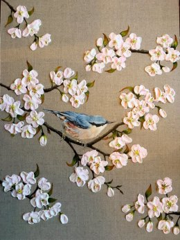 """Nuthatch and Blossom"" Commissioned piece."
