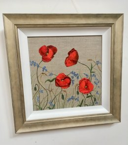 """""""Forget-me-not-garden"""" Acrylic on Linen Board Framed £150 incl P&P"""