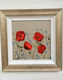 """""""Forget-me-not garden II"""" £150 including P&P Acrylic on Linen board Framed"""