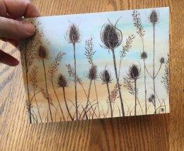 """""""Winter Teasels"""" Card 175mm x125mm Blank inside £2.50 Each"""