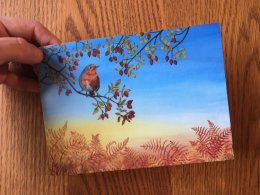 """Autumn Robin"" Card 175mmx125mm Blank inside. £2.50"