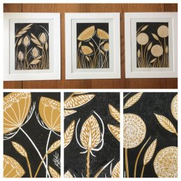 Selection of Lino Prints available in my Etsy store