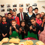 2014 Exhibition Launch at Fish & Chips Shop no.218 - with MP Meg Hillier & Headteacher of Berger school, Steve Glea
