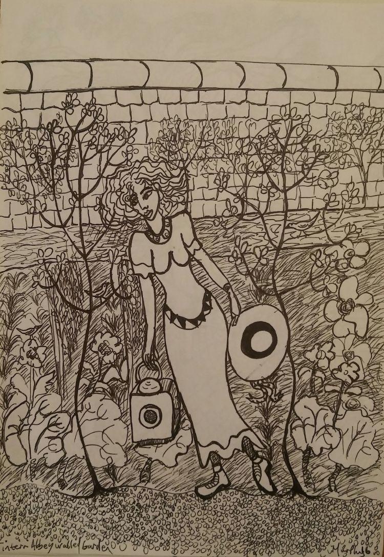Woman in Tintern Abbey walled garden