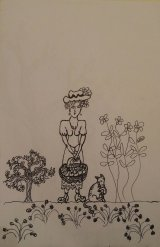 Girl with a basket of fruit (Unfinished pen drawing)