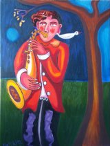 Saxophonist under the Juniper tree. Painted the summer of 2017.
