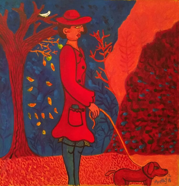 Woman with dog Autumn