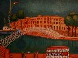 Dublin's Ha-Penny Bridge Oil on canvas.