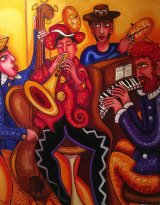 Mayhem in a Jazz Bar Oil on Stretched Canvas 2016 .Private Collector SOLD