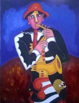 Saxophonist In Black Oil on Stretched Canvas