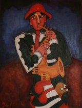 Saxophonist Methamorphosis Oil on Canvas.