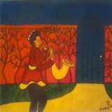 Woman With a Saxophone in a garden.