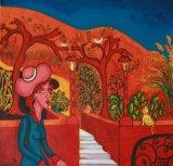 woman & cat In Orange Garden