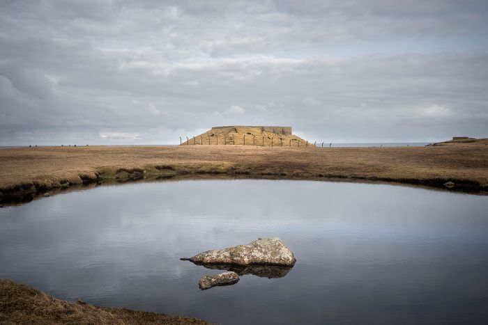 Rock pool and Fort Unst