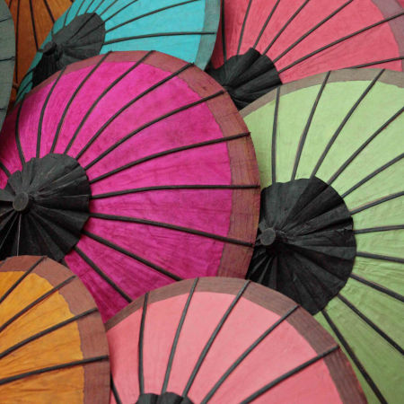a rainbow of umbrellas