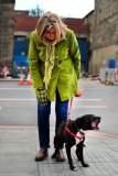Excited dog and green coat, Leith Walk, Edinburgh