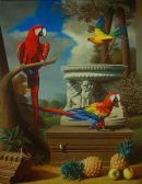 'Grand Macaws No.1', Oil on Canvas, 42 x 34 inches