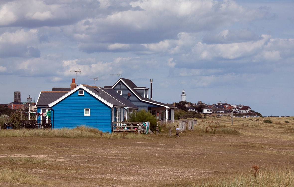 Homes on the beach at Southwold