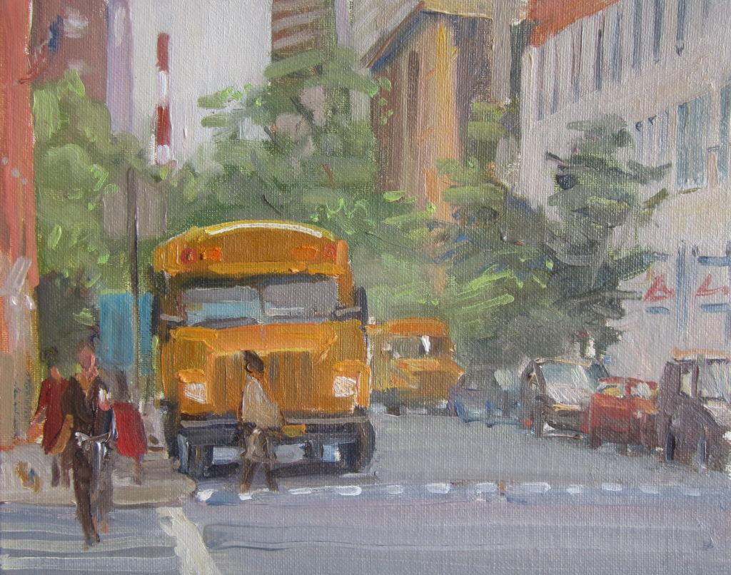 School Bus, New York. 10in x12in
