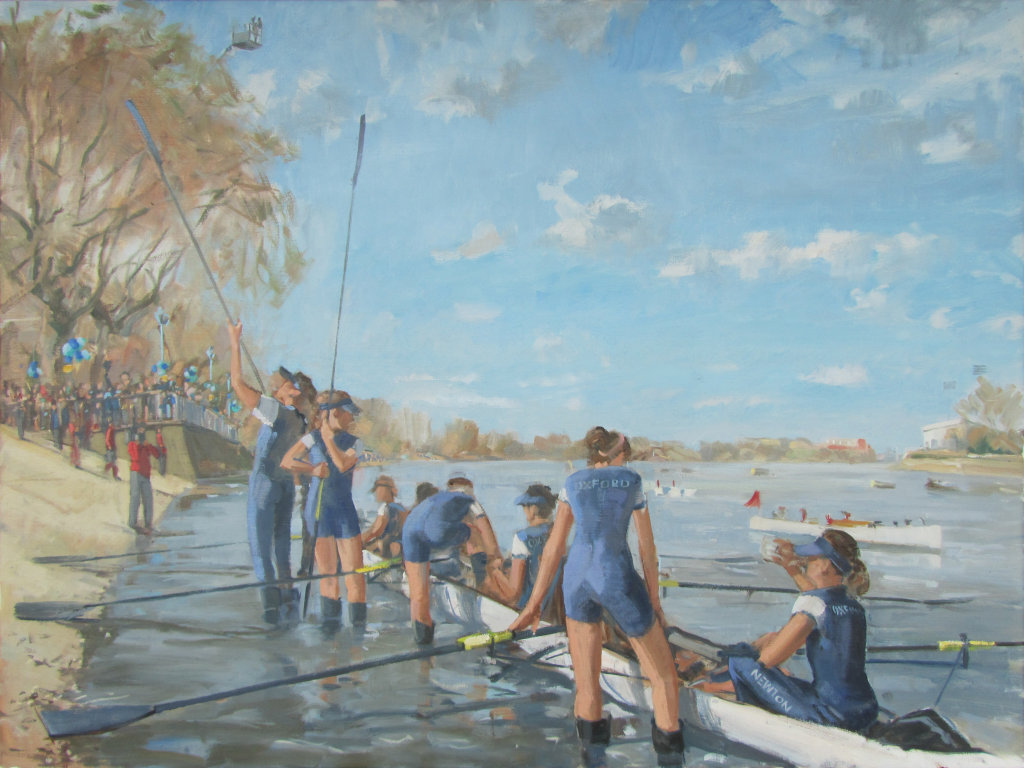 Oxford women's boat crew at Putney,2015